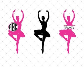 Ballerina SVG, Ballet SVG, Ballet Dancer svg, cut files for Silhouette, cut files for crcut, svg files, Monogram frames svg, Circle monogram