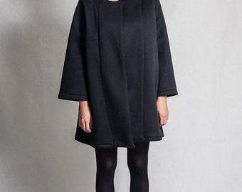 Black neoprene coat / Black minimalistic coat / Oversized black coat / Neoprene coat / Fasada 1581