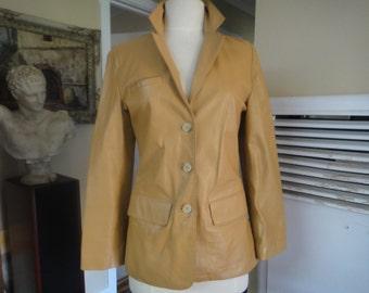 Vintage Tan Soft Leather Blazer 60's Size small Mod, Hippie