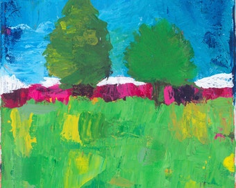 original acrylic painting of nature and trees