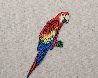 Macaw Parrot - Red, Yellow, Blue Bird - Iron on Applique - Embroidered Patch - 696505A
