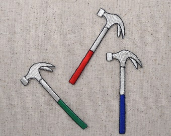 Red Blue or Green - Hammer - Tools - Iron on Applique - Embroidered Patch - COLOR CHOICE - Red, Green or Blue
