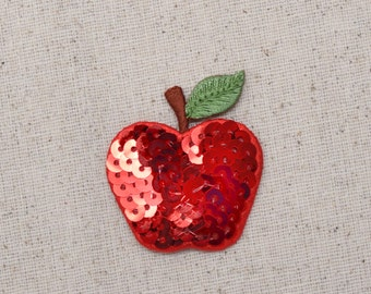 Apple - Red - Sequin - Single - Embroidered Patch - Iron on Applique - 154123A