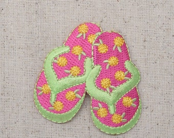 Flip Flops - Summer Sandals - Hot Pink and Lime Green - Yellow Flowers - Iron on Applique - Embroidered Patch - 695254