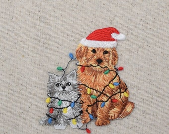 Christmas - Puppy Dog - Kitten Cat - Iron on Applique - Embroidered Patch - 694282B