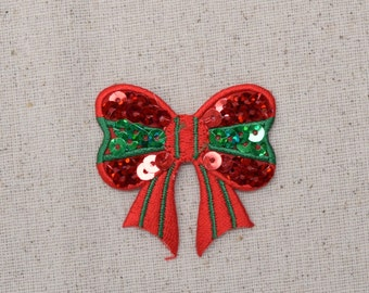 Christmas - Sequin Bow - Red and Green - Iron on Applique - Embroidered Patch - 154332A