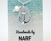White Sea Glass and Anchor Charm Necklace with Freshwater Pearl & Swarovski Crystal Accent