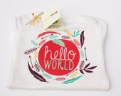 Hello World Onesie, Boho Baby, Coming Home Outfit, Feather One Piece, Baby Shower Gift, Bohemian Baby Clothes