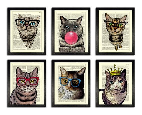 Art Print Set Of 6 Cool Cat Posters Cat Dictionary Prints