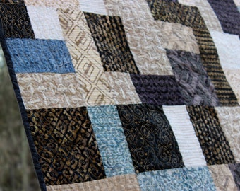 Modern Lap Quilt, Machine Pieced and Longarm Quilted,Batik and Cotton Fabrics with Purples, Blues and Cream Colors,Throw/Lap Size Handmade