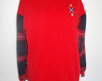 Vintage jumper sweater 80s by St Michael pure new wool red jumper plaid tartan sleeves size large to XL