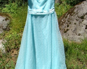1980s Aqua Ball Gown - Size 10