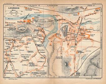 1928 Lourdes France Antique Map