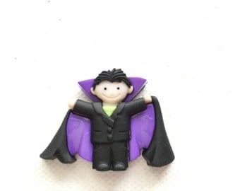 Dracula Pin - Cute Boy as Vampire - Costume - Tie Tack - ID Badge Pal - Halloween Jewelry