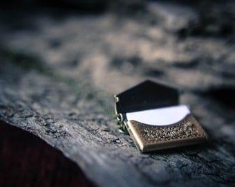 Antique bronze envelope love letter locket necklace with blank note inside