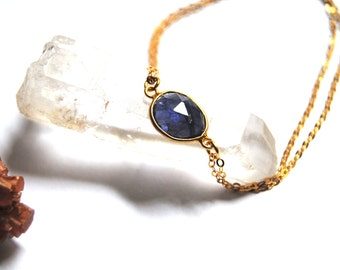 Iolite bracelet, 14kt Gold filled chain, double layered chain, 14kt Gold bracelet, gemstone bracelet