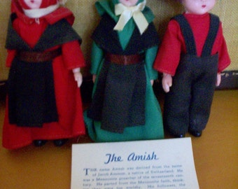 Amish Dolls, Set of Three Souvenir Dolls from Lancaster, PA, with Leaflet