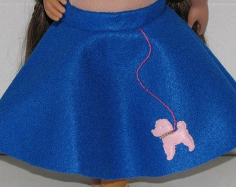 "Blue Poodle Skirt, 18"" Doll Clothes, Made in USA fits American Girl, Our Generation Dolls"