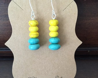 Yellow and Turquoise Colorblocked Stacked Disc Earrings