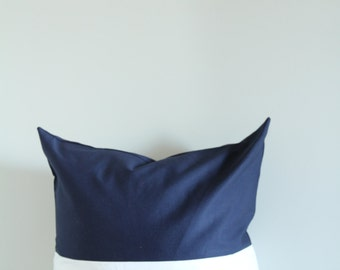 Navy Blue & White color block pillow cover, white cushion cover, industrial decor, two tone pillow cover, lumber pillow, navy decor