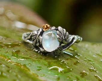 """Sterling Silver Rainbow Moonstone Ring """"Daisy"""" MADE TO ORDER, moonstone engagement ring, flower ring"""