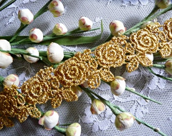 Gold Metallic Lace Venise Galloon Trim Roses Flowers for Gowns Costumes Cake Decoration Crafts Weddings VL10G