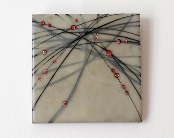 INTENTIONALLY UNINTENDED NO. 4 | Original Encaustic Collage on Limestone by Katie C. Gutierrez