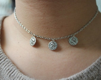 Five Or Three Coin Chain Choker Necklace.