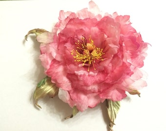 "Silk Flower, Silk Peony  ""Corrado"", brooch, hair accessory, hairpin"