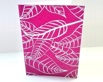 Anniversary card, Linocut print, Fallen leaves, hot pink print, Birthday card girlfriend, Paper handmade greeting cards, Thank you cards
