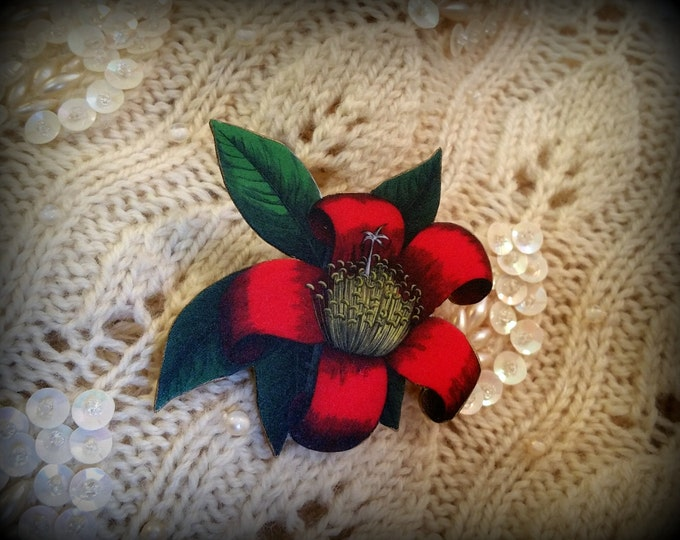 Red Flower Pin - Red Flower Brooch - Vintage Illustration Jewelry - Red Botanical Pin - Red Valentine Flower - Valentine Pin - Holiday Jewel