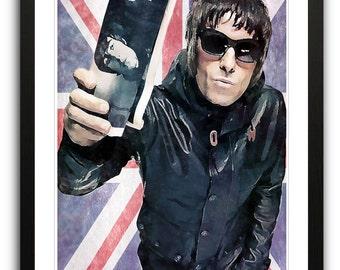 Liam Gallagher Oasis Union Jack Framed Poster Art Print Illustration A2