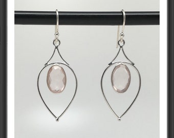 Sophisticated Natural Rose Quartz Dangle Earrings in Sterling Silver, Birthday Gift, Anniversary Gift, Thank You Gift