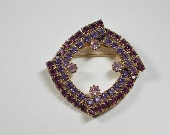 Vintage Purple Rhinestone Pin Brooch Two Toned Purple Abstract Oval Pin Prong Set Rhinestones Vintage Rhinestone Jewelry