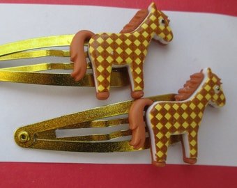 Horse barrettes-Little girls-Children's hair clips-bobby pins-Young girls barrettes-Horse clip on earrings-alligator clip-toddler hair clips