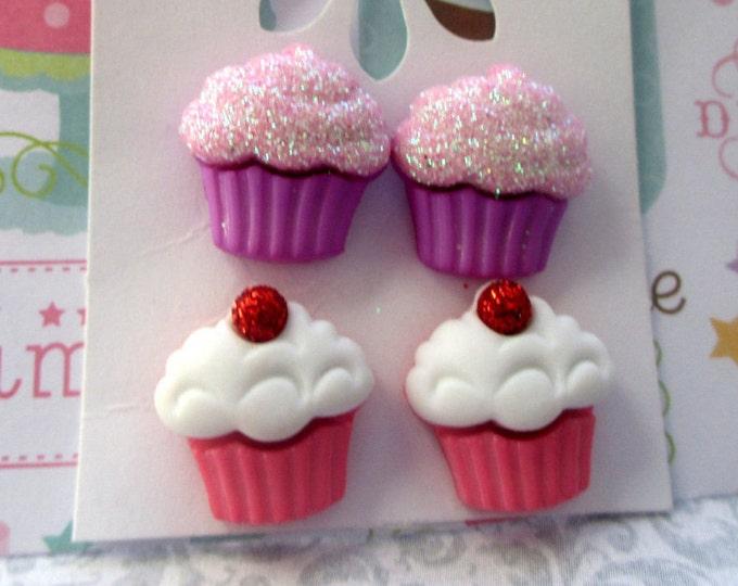 Pink cupcake earrings-purple cupcake studs-Clip on earrings-childrens jewelry set-food earrings-Kawaii earrings-little girls-party favors