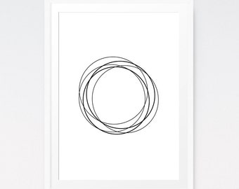 Modern Art Print, Abstract Paint, Zen Wall Art, Simple Wall Decor, White Art, Meditation Art, Circles, Pen Artwork, Zen Art, Download Art
