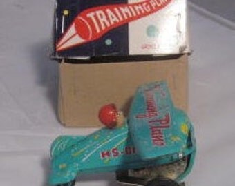 VTG Wind Up Tin Toy Training Plane Blue MS 011 Vintage 1960s w/ Box Made In China -  Nice