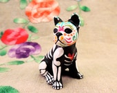 Day of the Dead French Bulldog Sugar Skull pet memorial Dia De Los Muertos sculpture Dog skeleton Halloween decor Frenchie