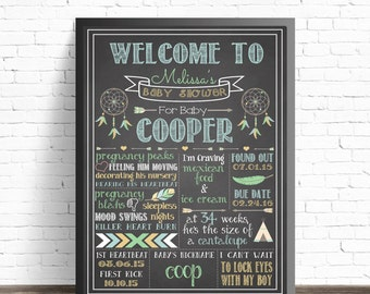Baby Shower Chalkboard Sign / Chalkboard Printable / Boy Tribal Shower Decor / Boho Baby Shower / Hippie Nursery Decor / Feathers and Arrows