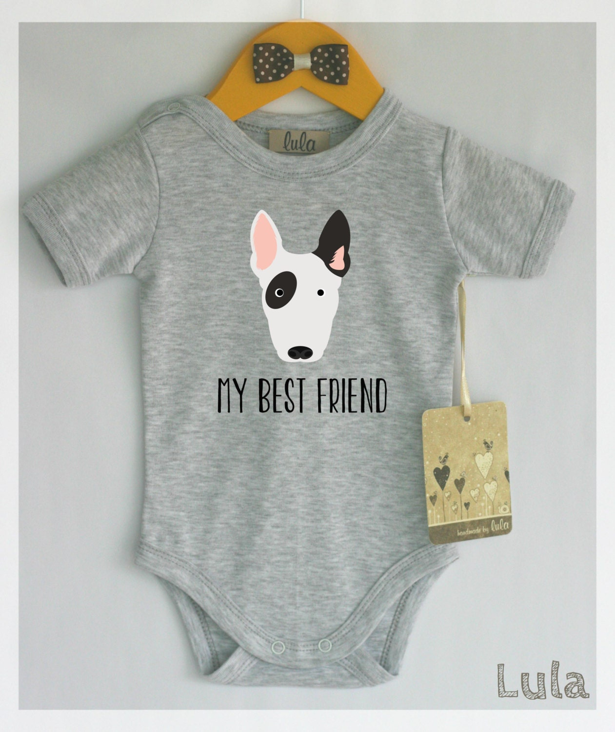 Bull Terrier Baby Clothes Dog Baby Best Friend Print Cute