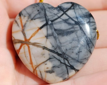 Picasso Jasper, One Piece Picasso Marble or Picasso stone, Pendant, Focal Bead, Heart shape, 39 x 39mm, C4567