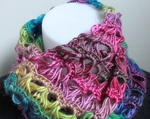 Broomstick lace crochet infinity scarf - Stained glass | Ready to Ship
