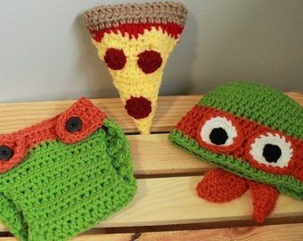 Crochet  baby Ninja Turtle photography prop hat and diaper set  Made to order  newborn,  0-3 months, 3-6 months, 6-12 month sizes available