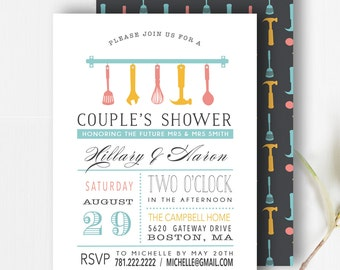 Couple's ShowerInvitation - His and hers  - Typography Bridal Wedding - Tools Party - Printable Custom DIY digital