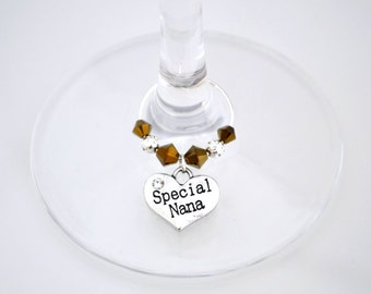 Nana Wine Glass Charm - Swarovski Crystal - Special Nana Birthday Gift - Nana Birthday Present - Grandmother Birthday Gift - Nana Thank You