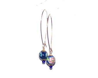 Cloisonne Earrings - Blue  Cloisonne / Cobalt Blue - White, Pink & Turquoise Flowers