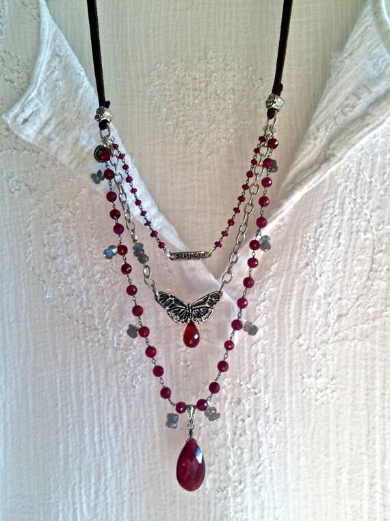 The Romantic Ruby Triple Strand Necklace Labradorite Garnet