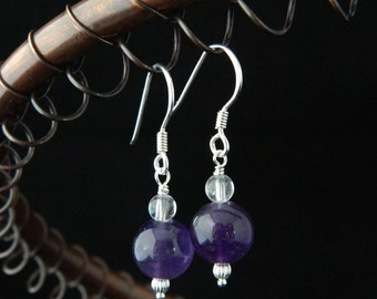 Amethyst Silver Earrings ~  Clear Quartz Earrings ~ 925 Silver ~ Genuine Gemstone Earrings ~ Genuine Amethyst ~ February Birthstone ~ Purple