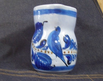 Vintage Bird Pottery Pitcher From Mexico.